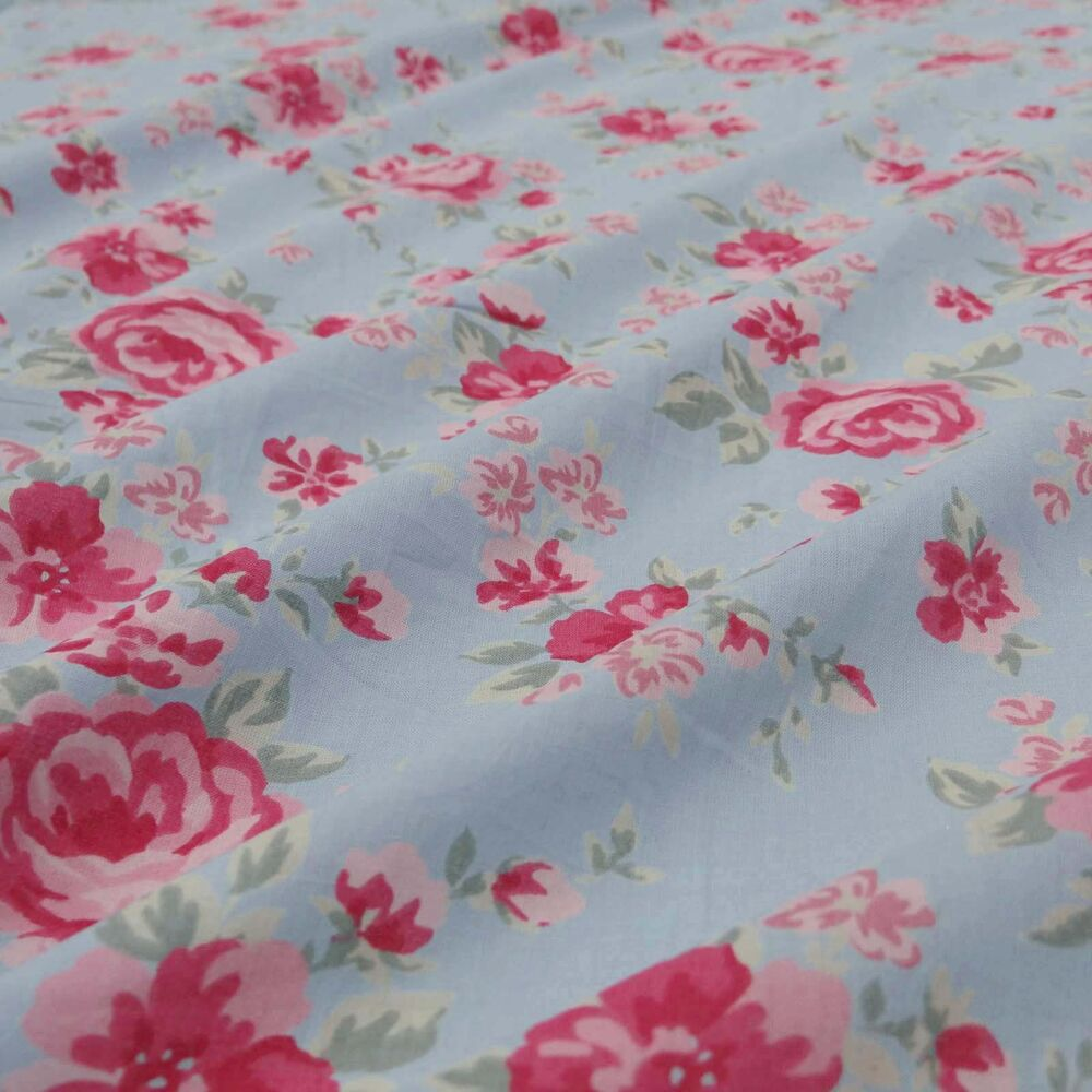 Floral printed cotton fabric blue dressmaking fabric for Printed cotton fabric
