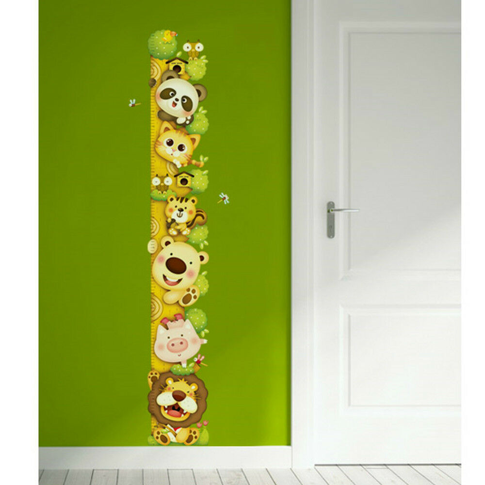 Animals Growth Height Chart Measure Removable Art Wall