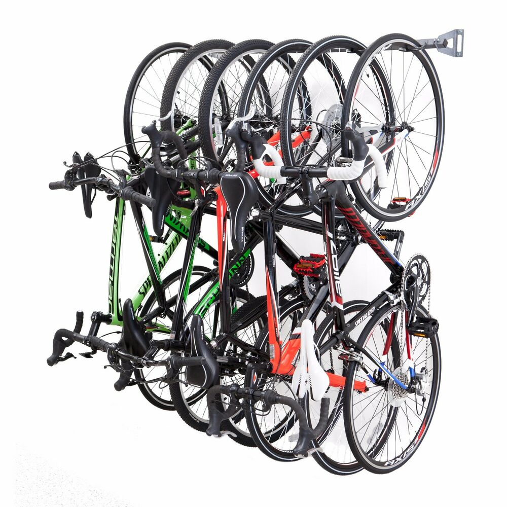 garage bike rack 6 bicycle wall mounted storage by monkey bars storage ebay. Black Bedroom Furniture Sets. Home Design Ideas