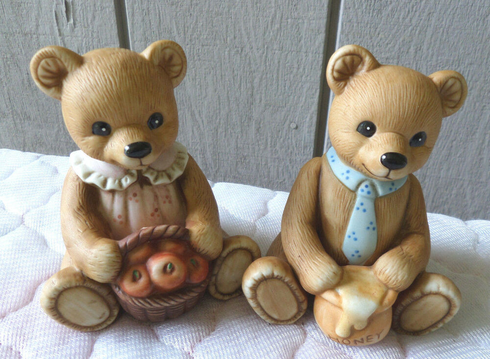Homco home interior bear bears porcelain figurines boy Eba home interior figurines