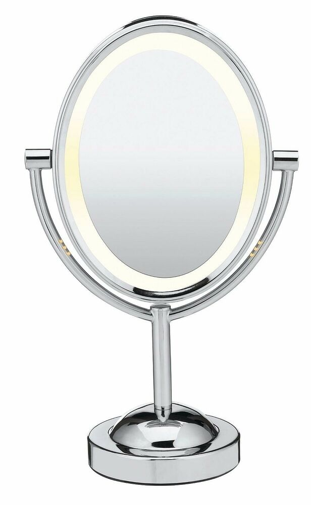 7x 1x Oval Double Sided Lighted Mirror Cosmetic Make Up