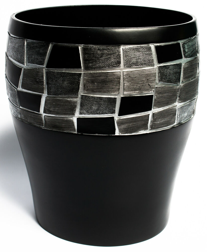 Popular bath mosaic stone black bath collection bathroom for Waste baskets for bathroom