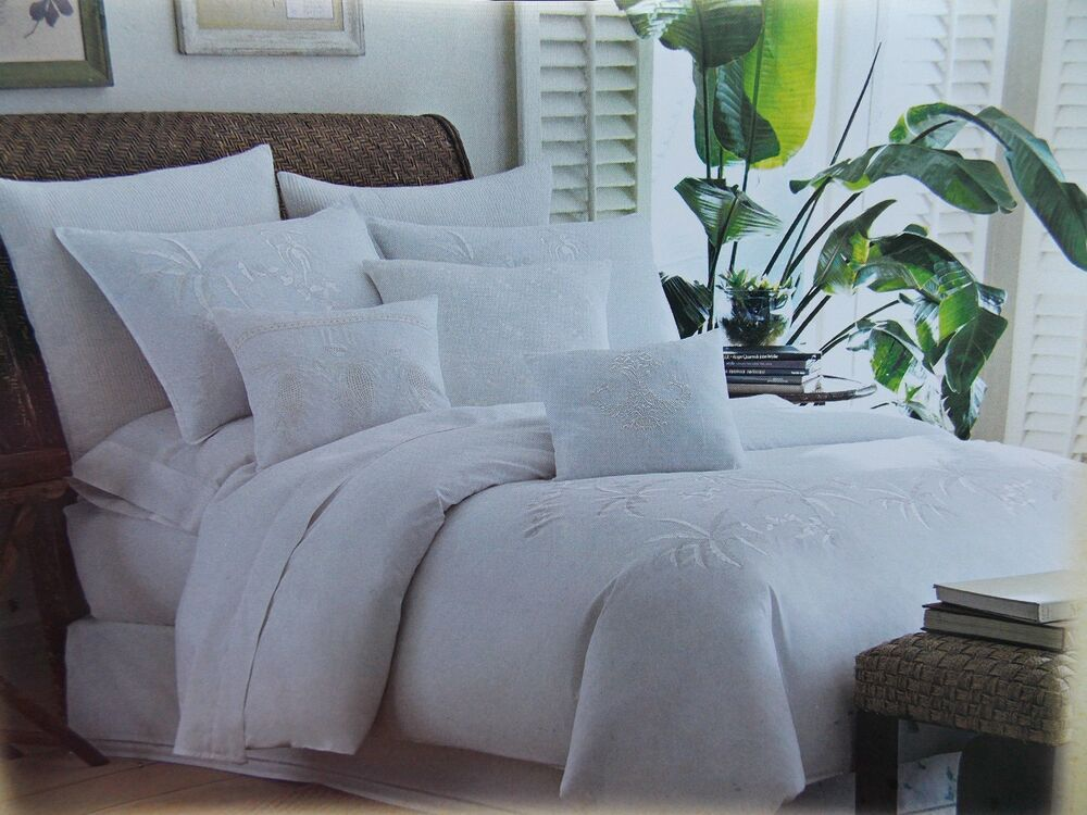 Palm Tree Quilt Sets: TOMMY BAHAMA~TROPICAL HIDEAWAY~WHITE PALM TREE ~4 PIECE