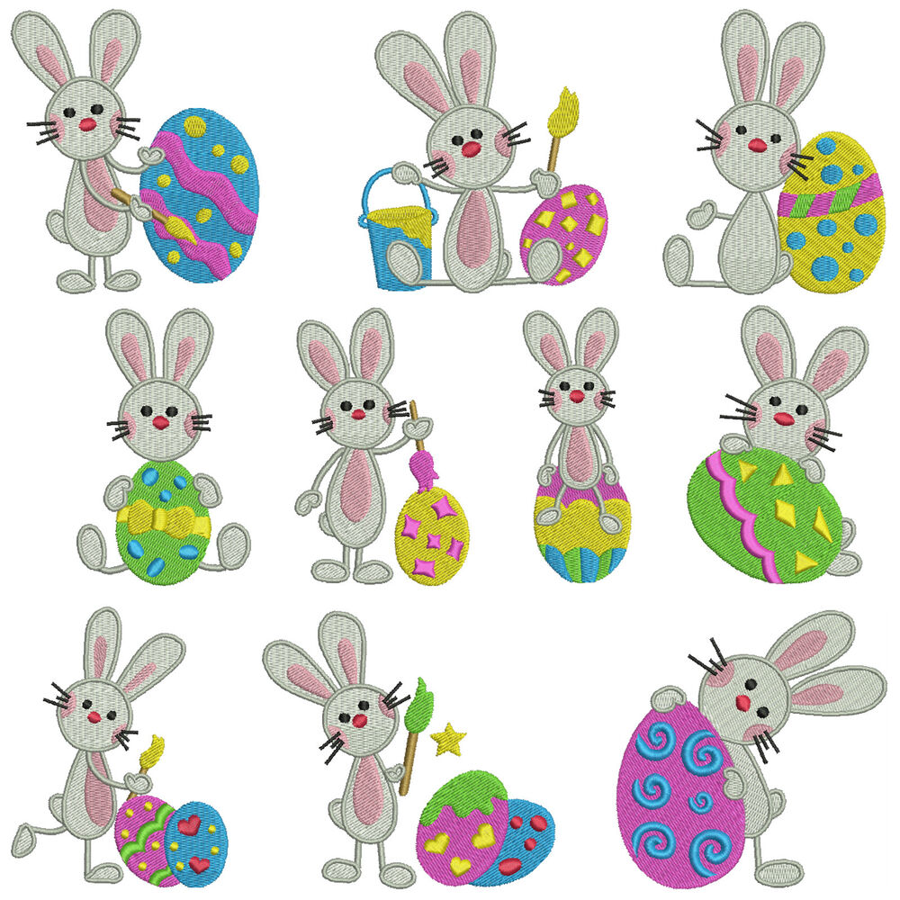 Easter bunny machine embroidery patterns designs