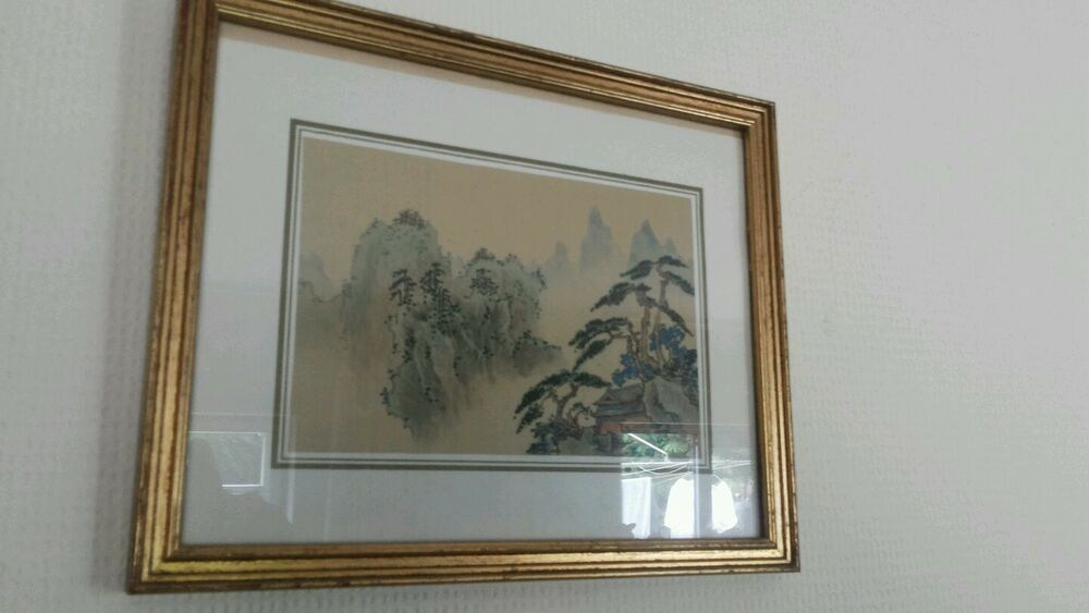 small glazed and framed Chinese classical landscape painting on silk ...