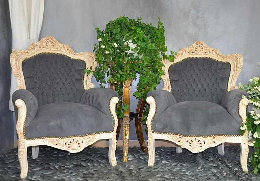 sessel barock thron weiss grau glamour louis massiv holz deko thronsessel ebay. Black Bedroom Furniture Sets. Home Design Ideas