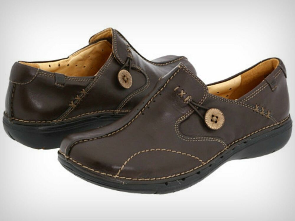 new clarks unstructured womens un loop brown leather slip