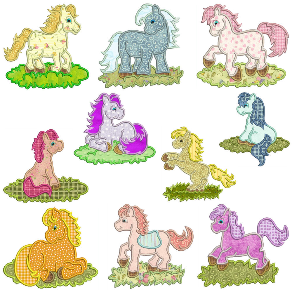 ** PONY ** Machine Applique Embroidery Patterns ** 10 ...