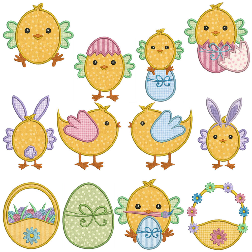 Easter chickens machine applique embroidery patterns