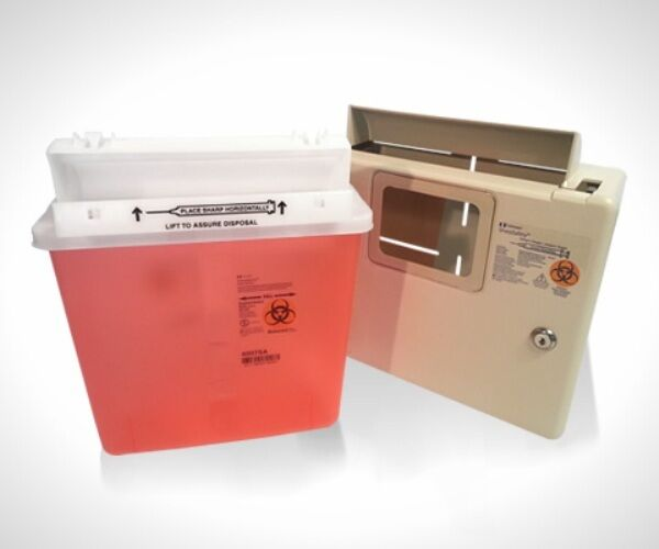 Wall Mount Locking Cabinet With 5 Qt Sharps Container