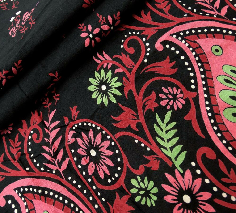 Black floral printed designer fabrics sewing cotton 41 for Sewing fabric
