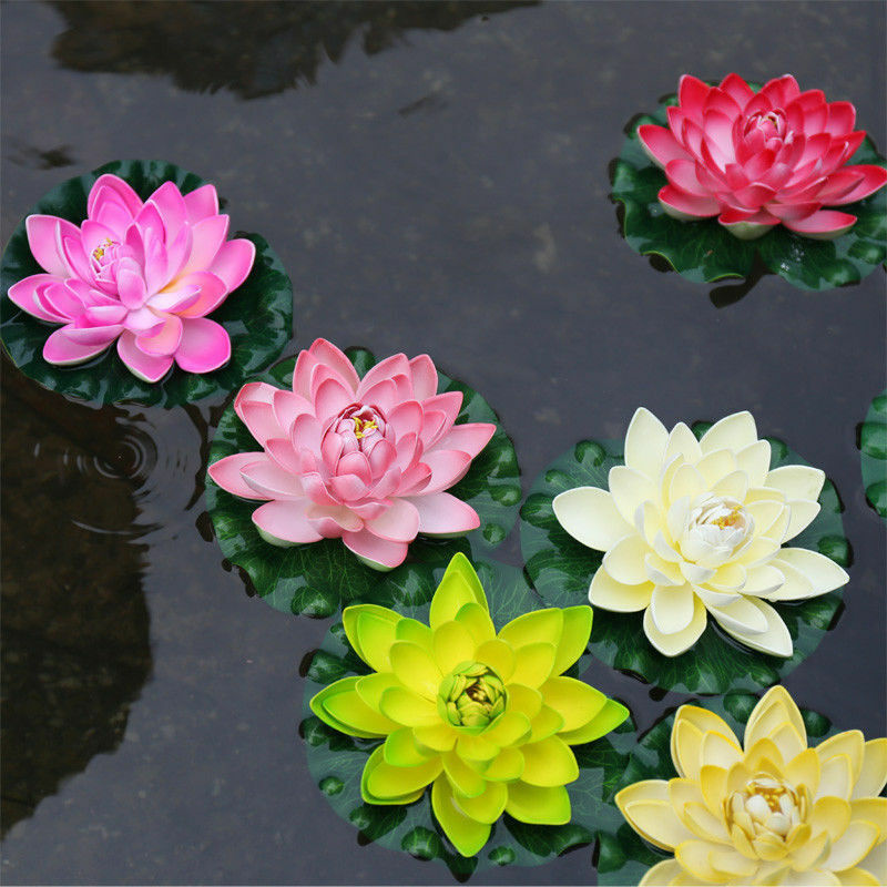 Fake silk artificial simulation lotus flowers pond garden for Artificial plants for outdoor ponds