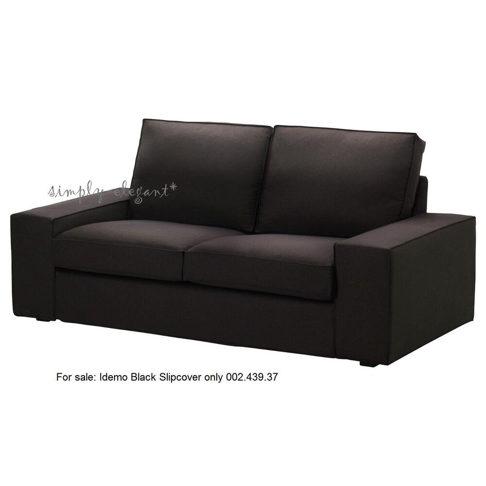 Ikea slipcover black kivik loveseat 2 seat sofa cover idemo black new sealed ebay Loveseat slip cover