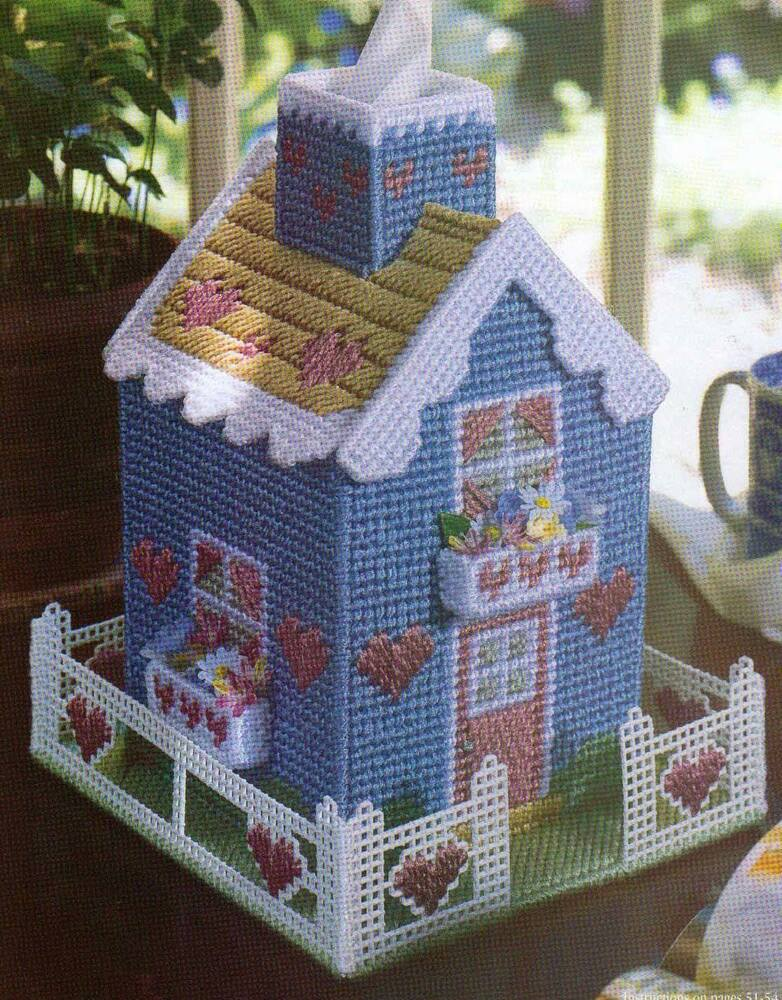 Victorian House Tissue Box Cover Plastic Canvas Pattern