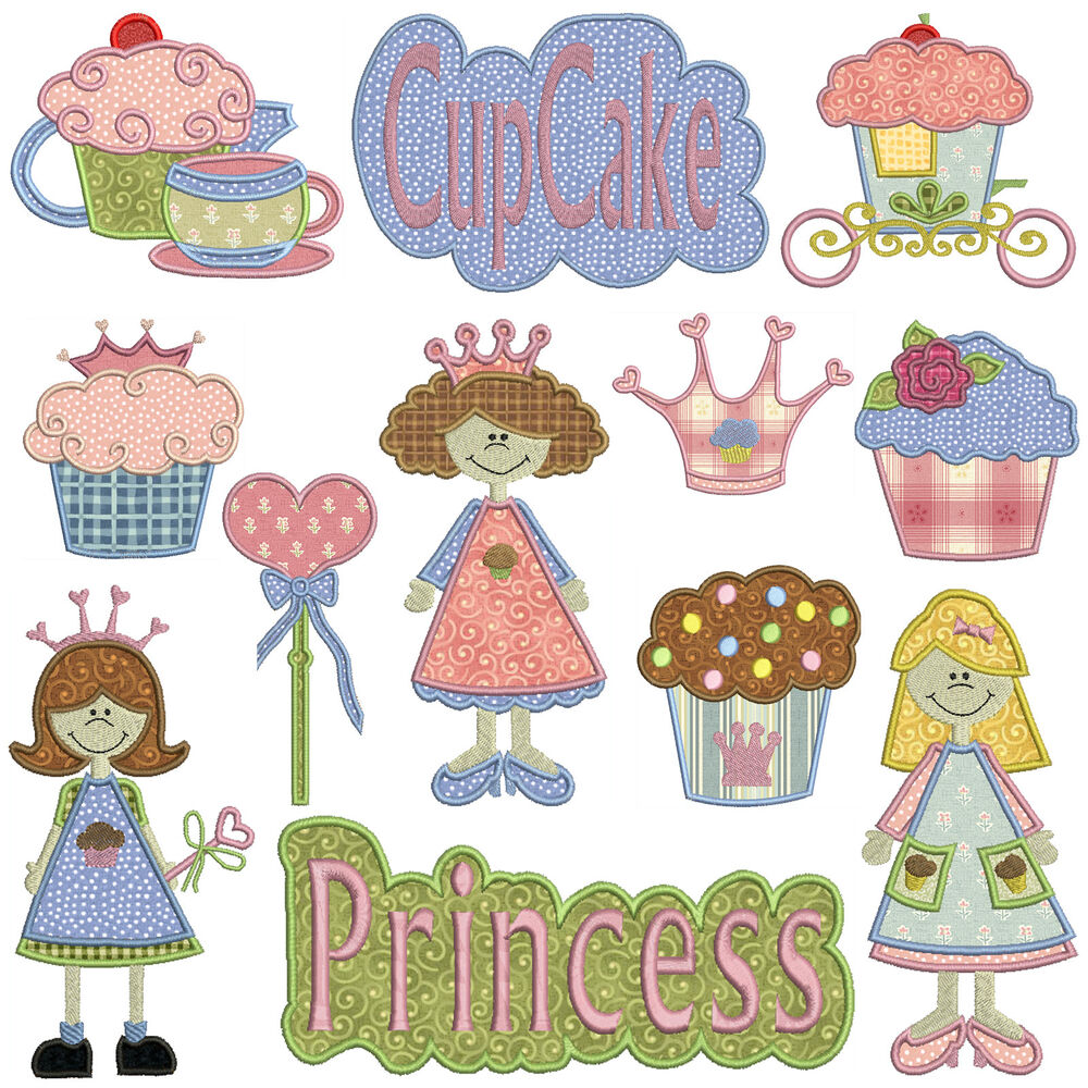 PRINCESS CUPCAKE * Machine Applique Embroidery Patterns ...