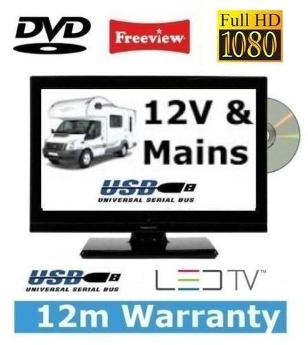 24 12v 240v tv dvd player full hd 1080p slim digital led caravan boat ebay. Black Bedroom Furniture Sets. Home Design Ideas