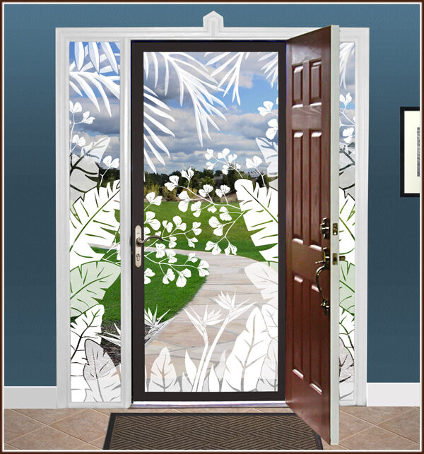 White Palm Leaves Tropical Oasis Etched Glass Static Cling