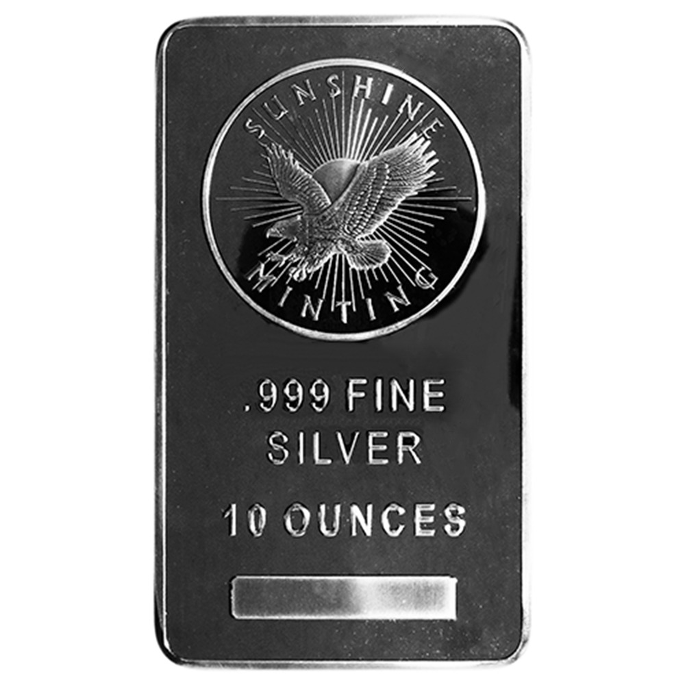 10 Troy Oz Sunshine Mint 999 Fine Silver Bar Mint Mark Si
