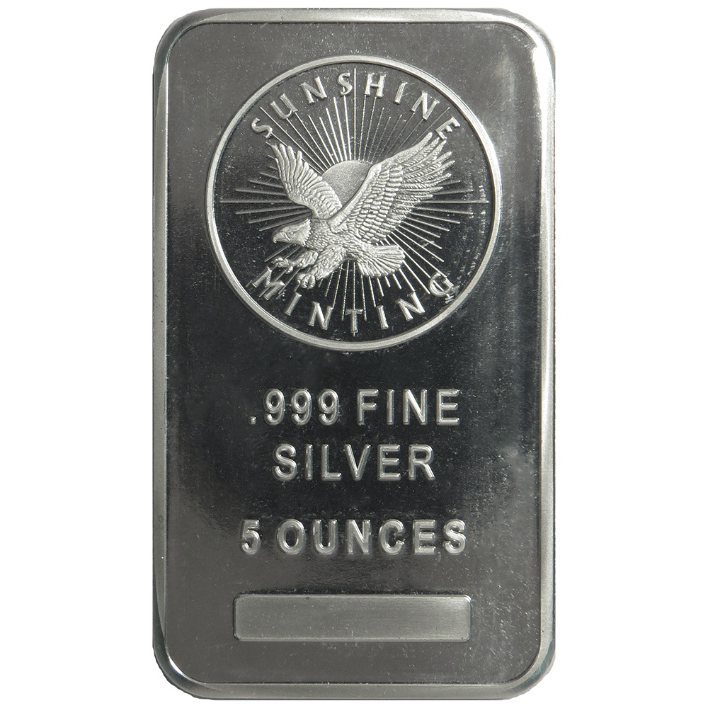 5 Troy Oz Sunshine Mint 999 Fine Silver Bar Mint Mark Si