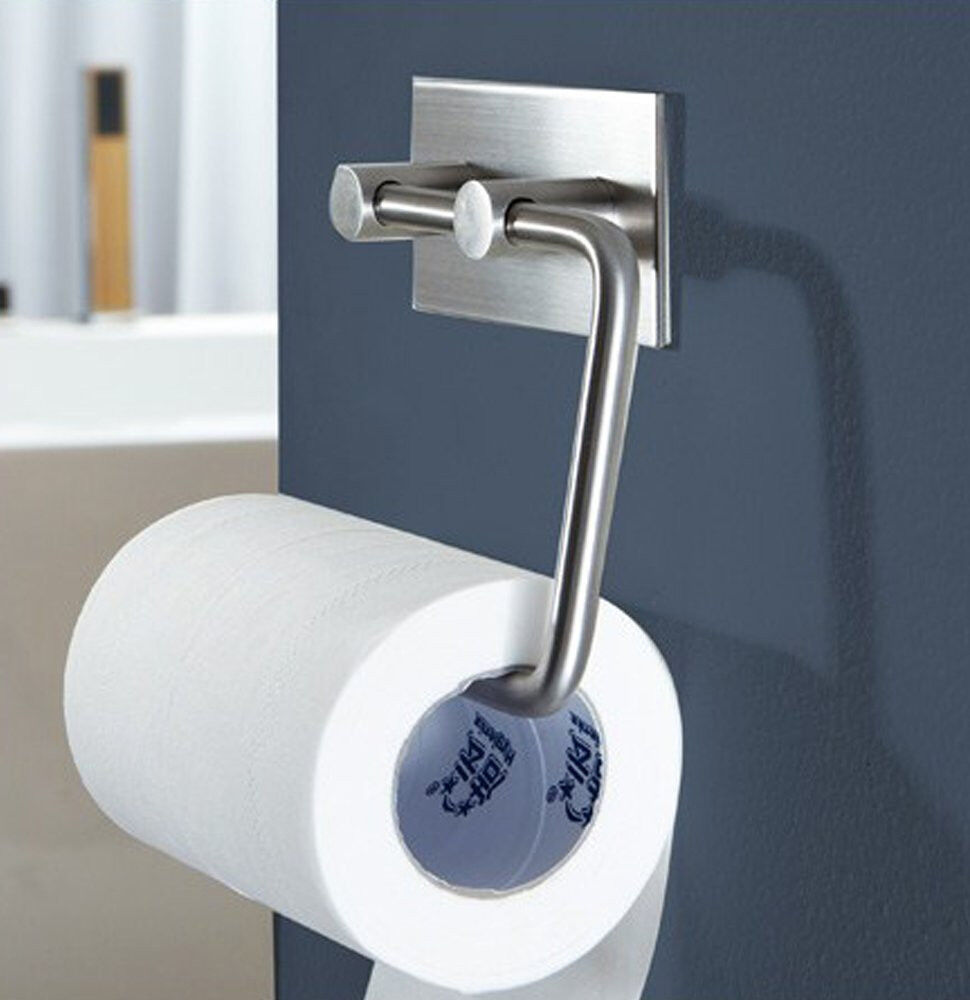 Bathroom Tissue Holder Toilet Paper Holder 3m Self Adhesive Towel Rack Ebay