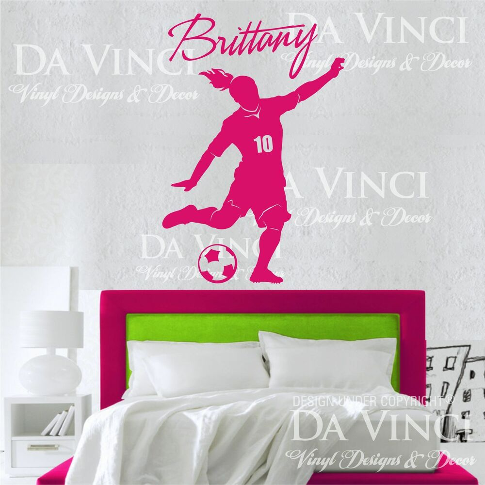 Wall Art Decals Custom : Soccer player decal custom girl name wall room