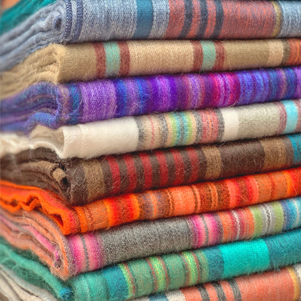 Wholesale Lot Of 10 Soft Amp Warm Striped Alpaca Wool Blankets