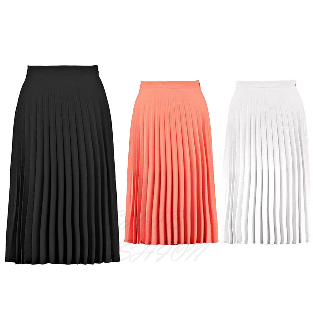 Ladies Womens All Over Pleated Crepe Summer Casual Midi ...