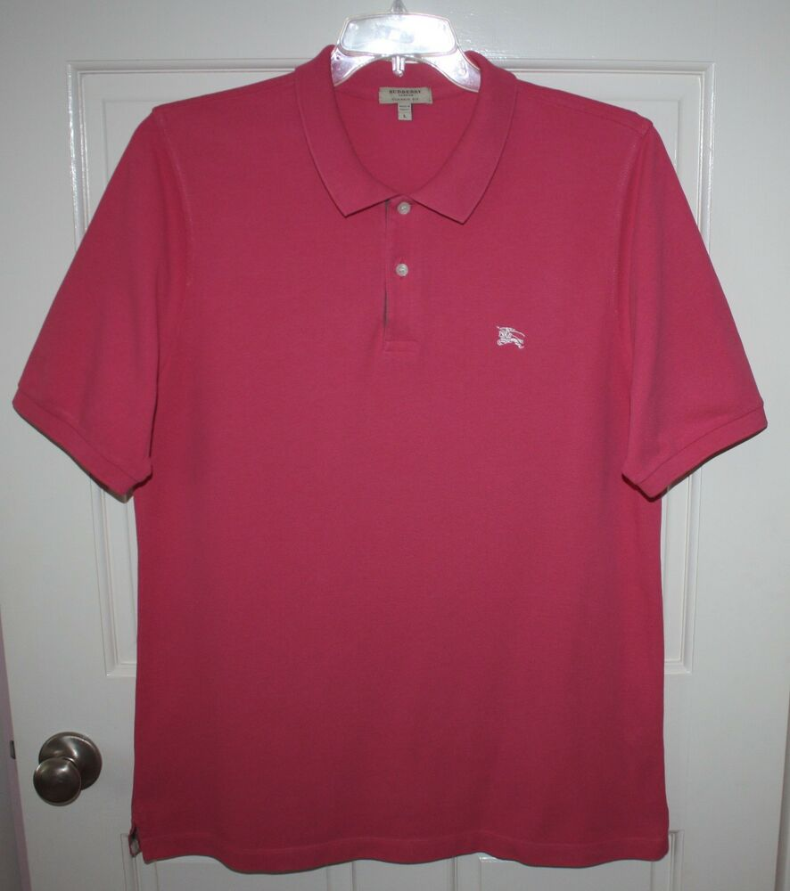 Mens burberry london classic fit pink short sleeve polo for Mens big and tall burberry shirts