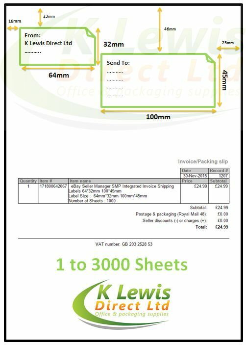 ebay shipping label template - 3000 invoice shipping labels ebay seller manager 64 32mm