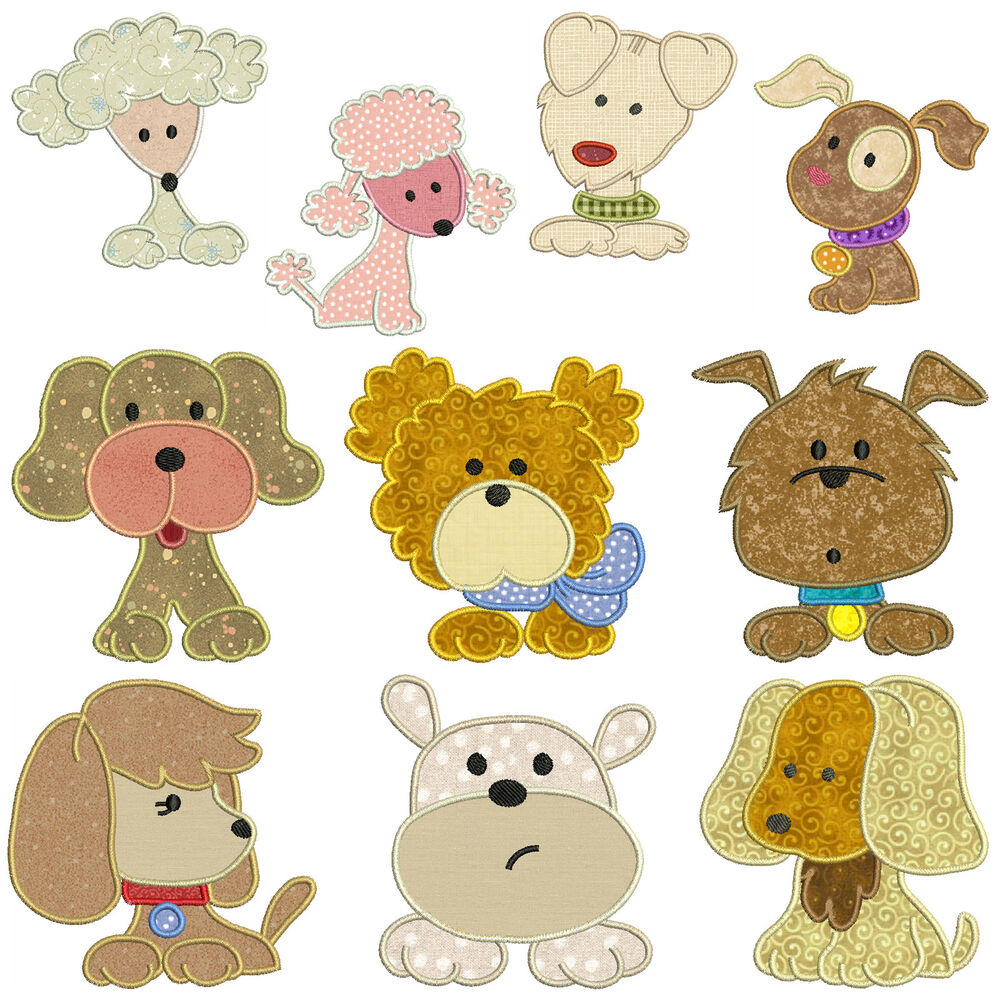 DOGS ** Machine Applique Embroidery Patterns ** 10 Designs