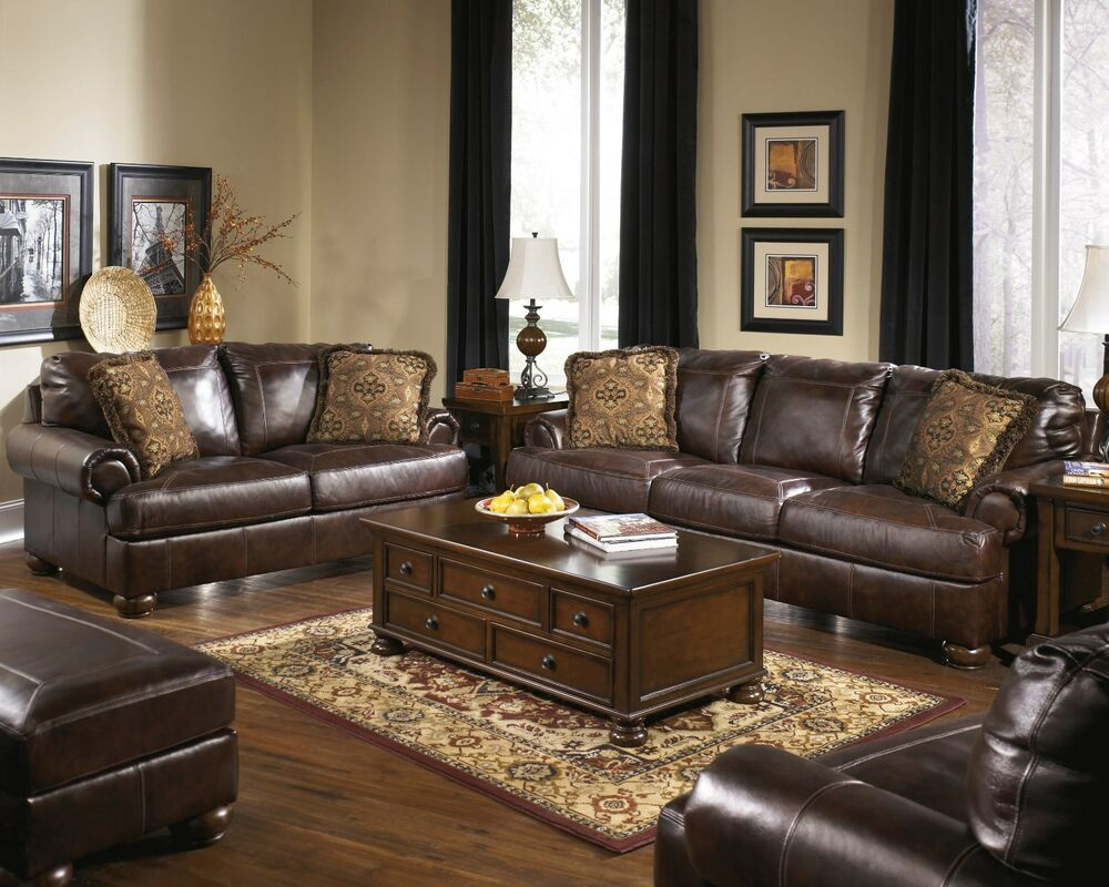"New Ashley ""Axiom"" Vintage Casual All Leather Sofa Set"