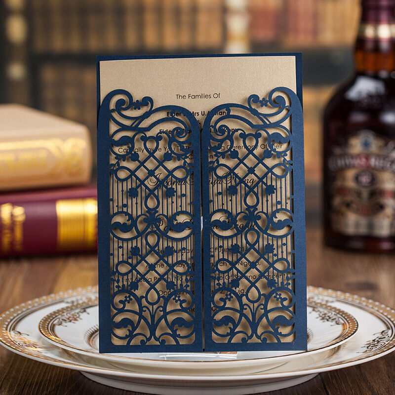 Laser cut out gate fold navy blue wedding invitations for Ebay navy wedding invitations