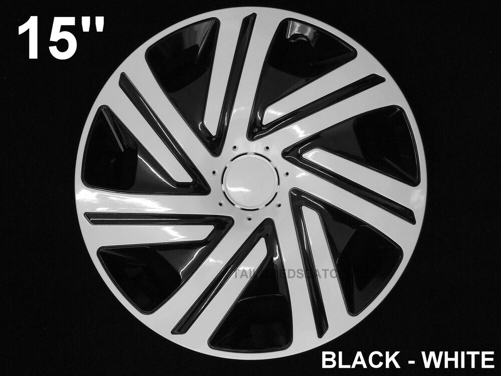 15 39 39 wheel trims hub cups for peugeot partner 207 307 208 4 x 15 39 39 black white ebay. Black Bedroom Furniture Sets. Home Design Ideas