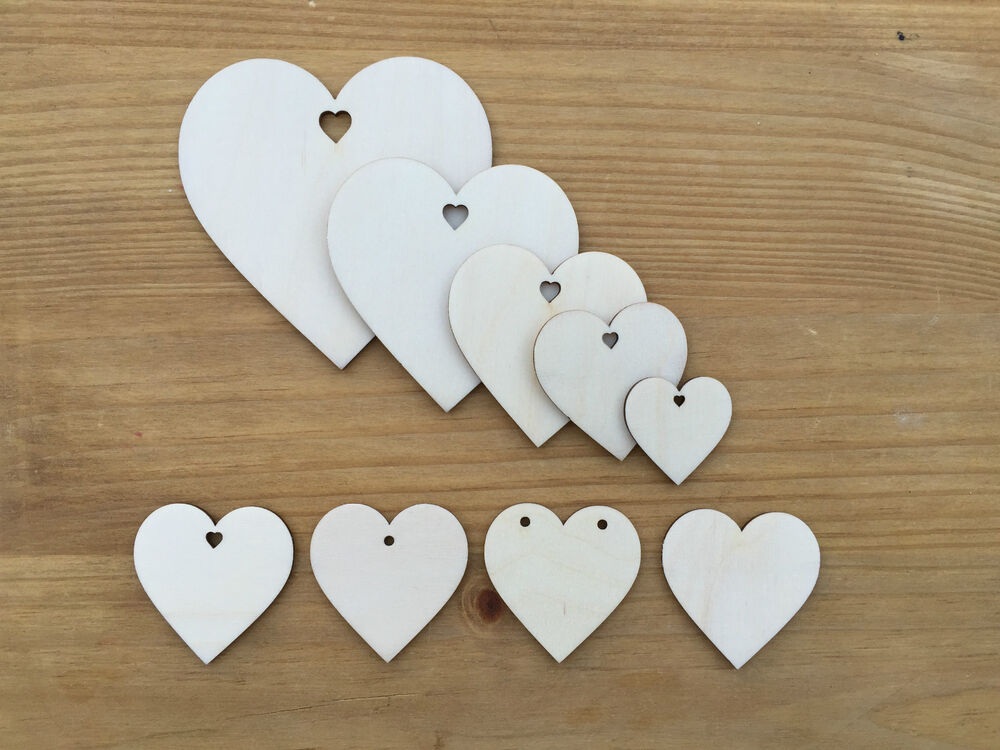 Wooden love hearts shapes embellishments large small for Wooden hearts for crafts