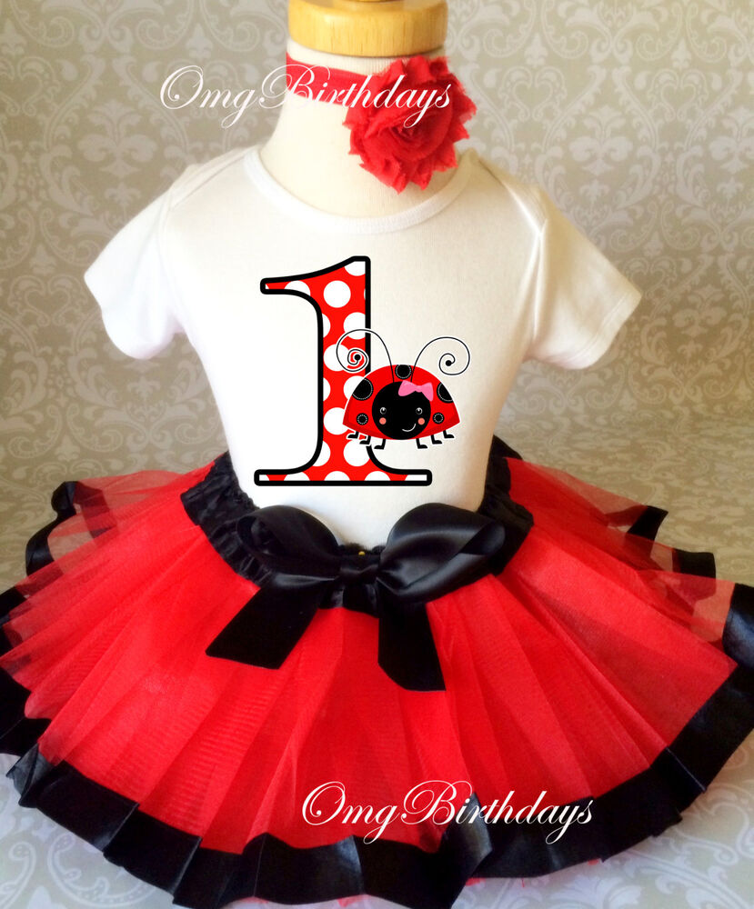 Birthday Party Outfit: Ladybug Red Black Lady Bug Baby Girl 1st First Birthday