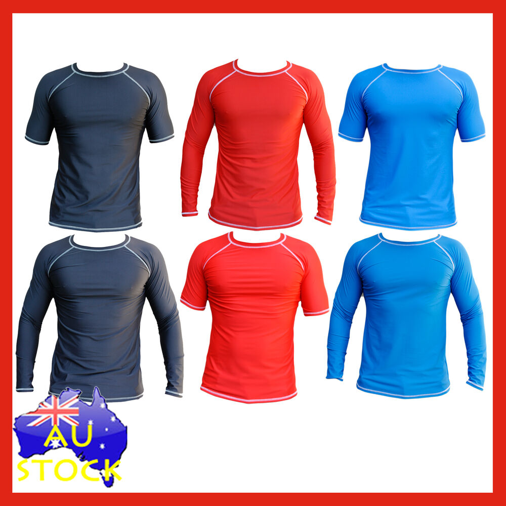 Mens Rash Shirt Rashie Vest Swim Shirts Top Rash Guards