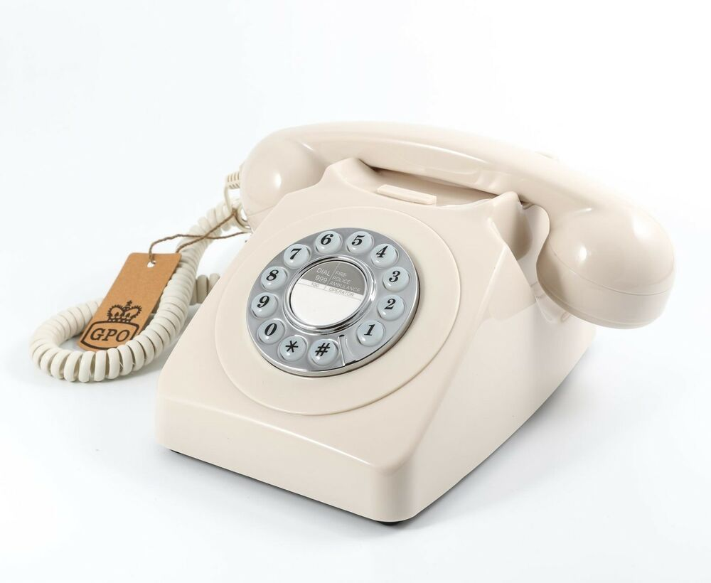 retro gpo 746 push button dial telephone vintage style phone ivory cream ebay. Black Bedroom Furniture Sets. Home Design Ideas