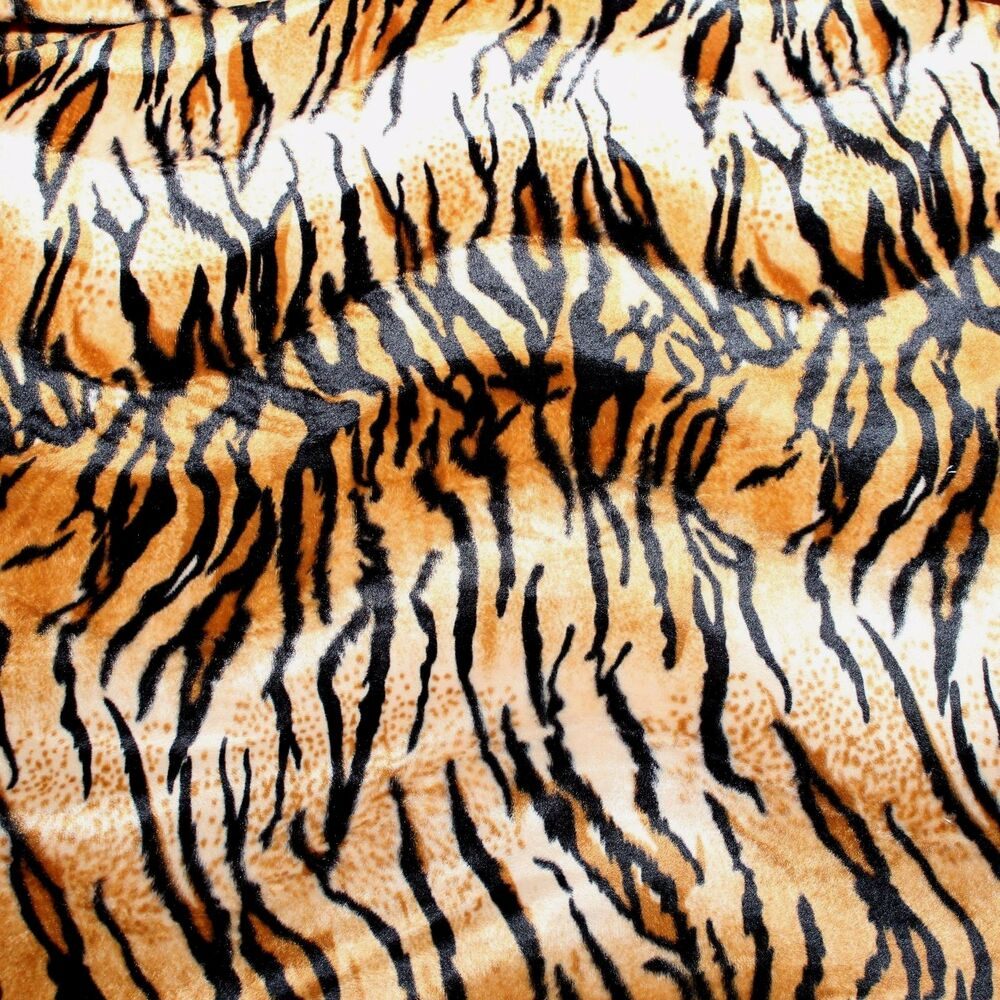 Velboa Faux Fur Brown Tiger Animal Print Fabric Sewing