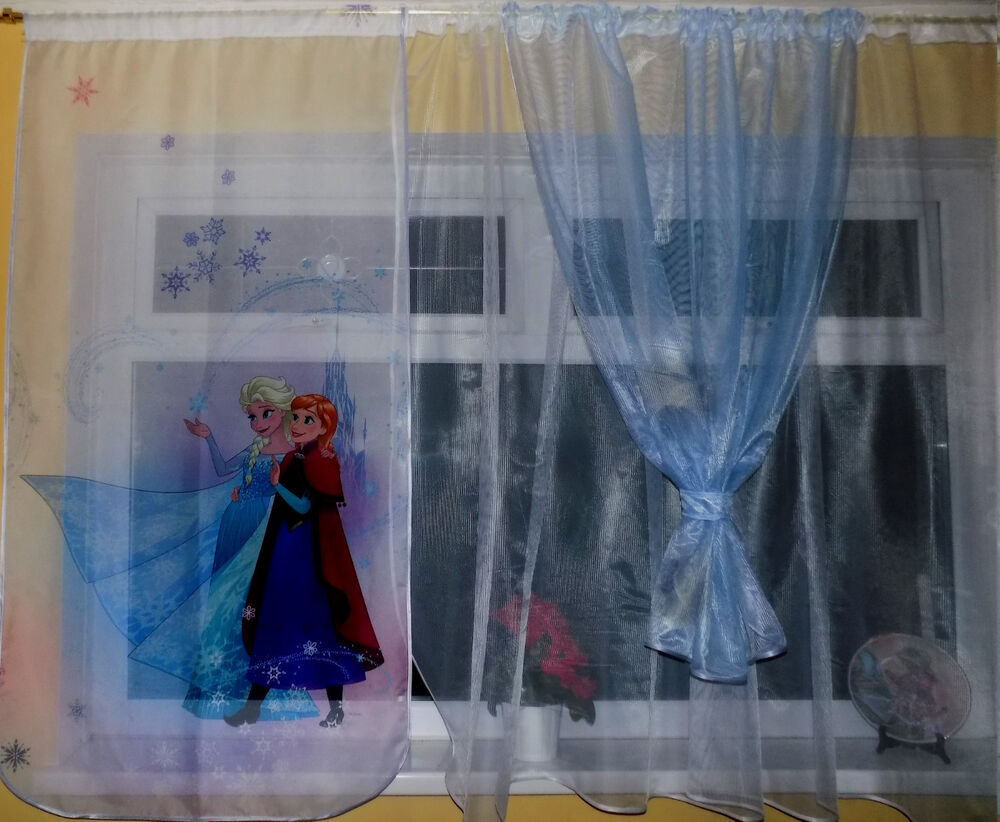 Ready made children net curtain frozen set different for Kids curtain company