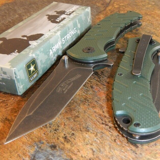 Us Army Spring Assisted Open Green G10 Tactical Folding