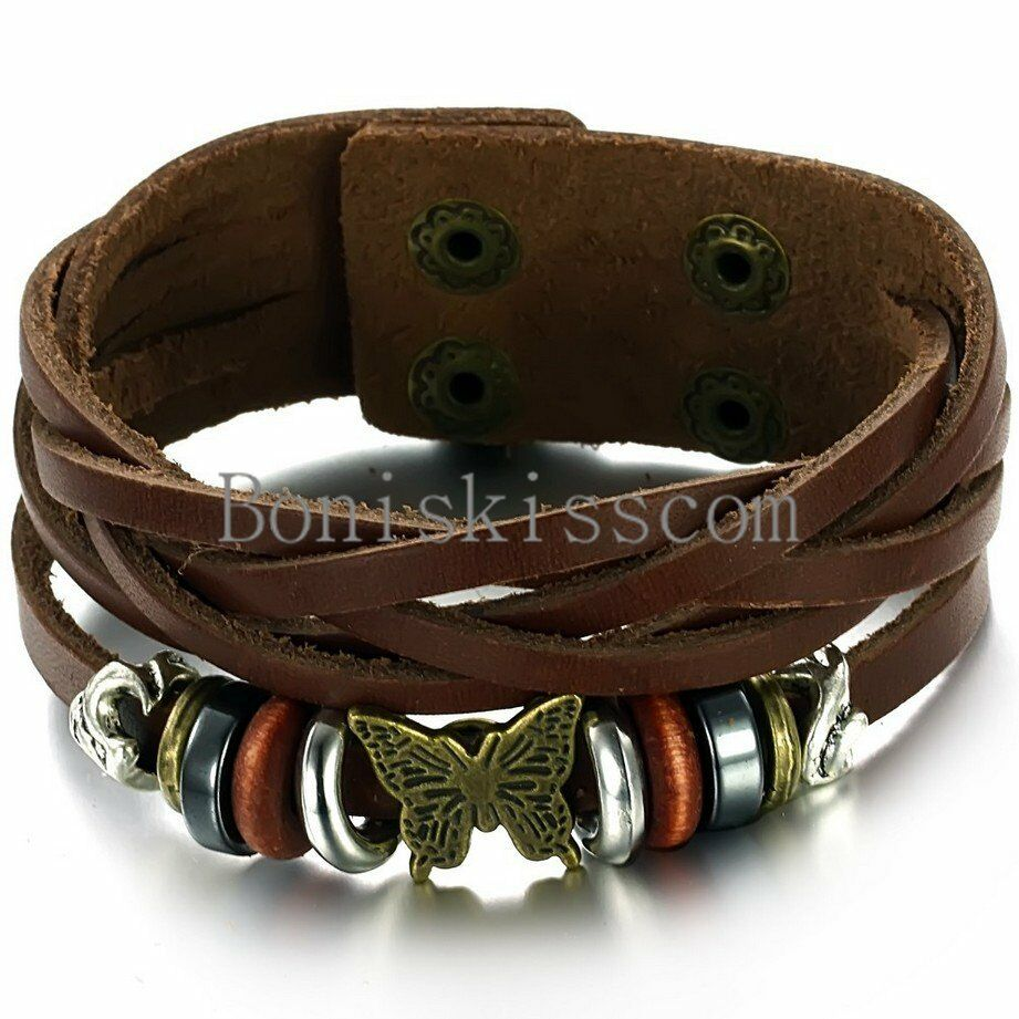 Leather Wrap Bracelet With Charms: Vintage Butterfly Beads Stud Snap Bracelet Leather Wrap