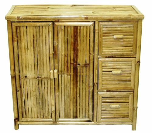 Bamboo wood storage chest 2 shelf 3 drawer ebay for Bamboo kitchen cabinets reviews