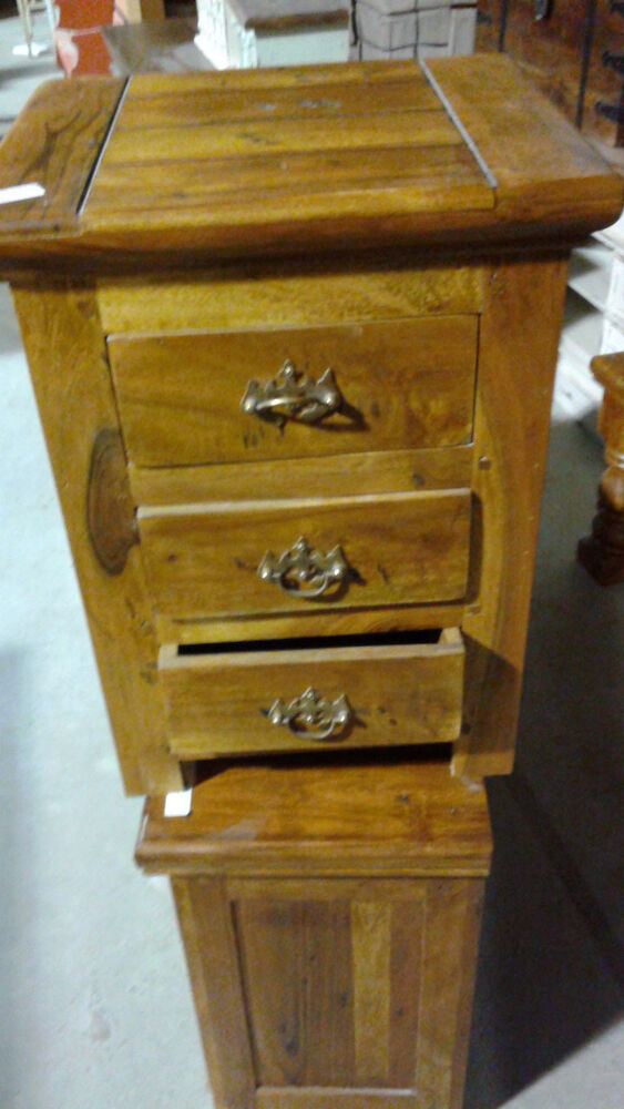 End Table Or Night Stand With 3 Drawers Natural Wood