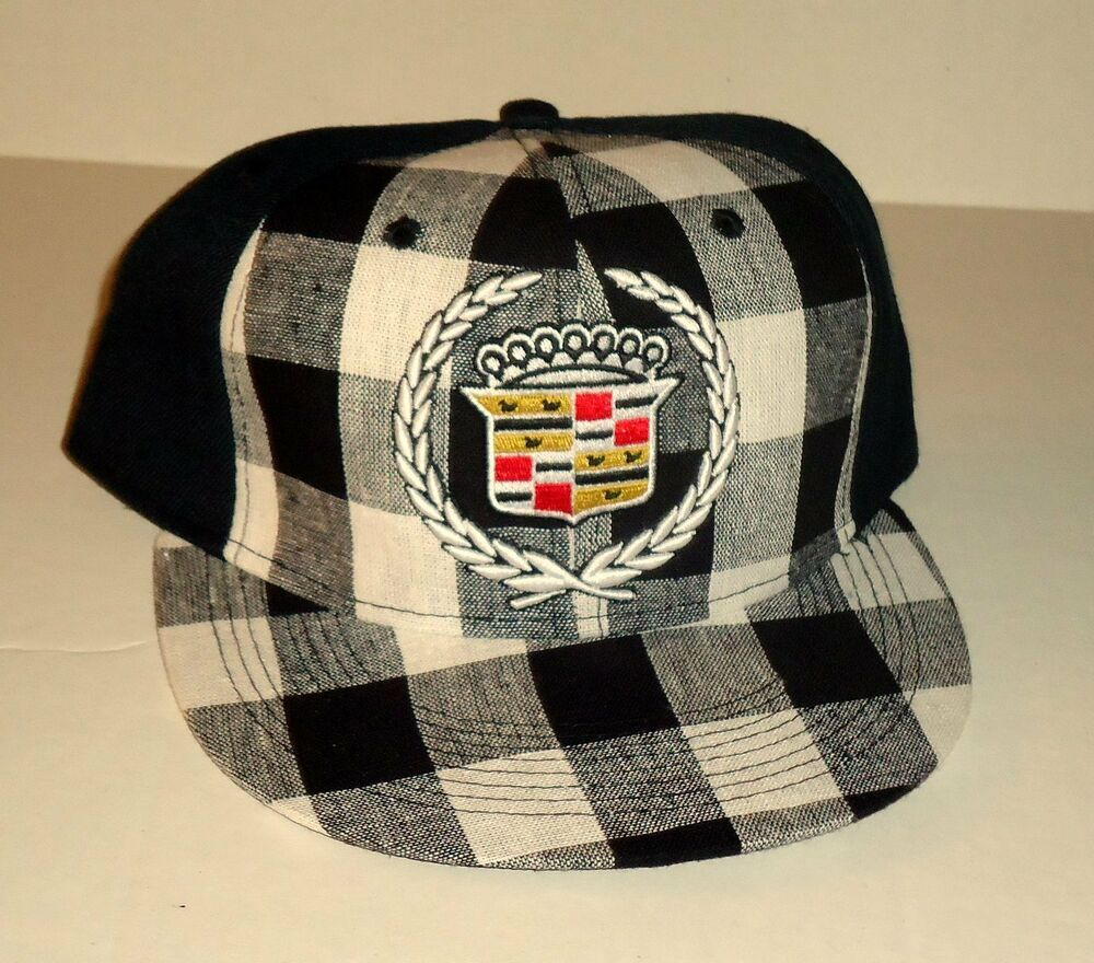 cadillac black plaid fitted hat baseball cap licensed gm