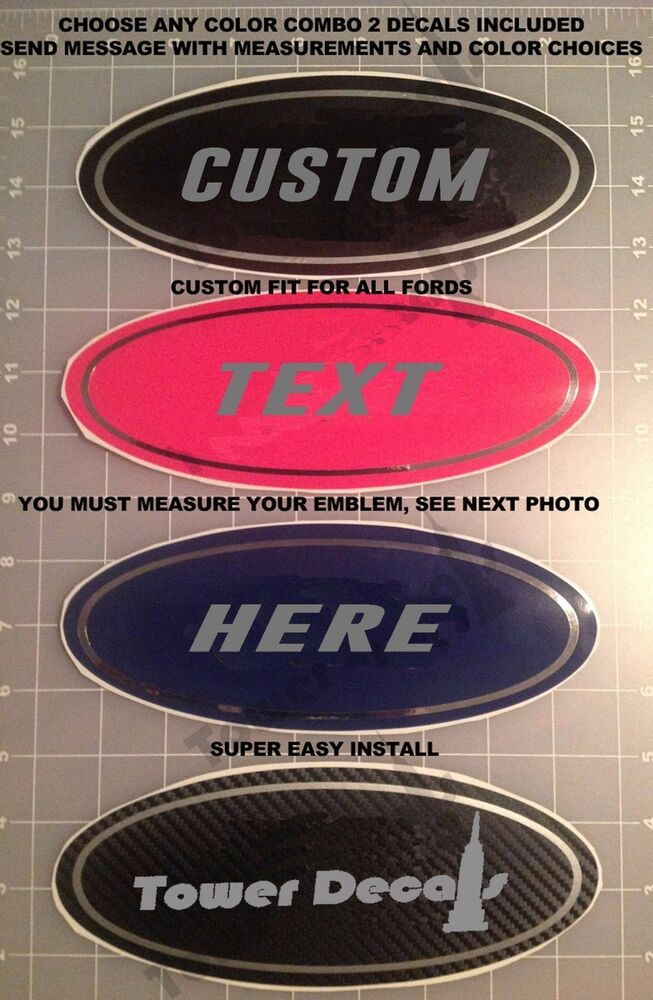 CUSTOM TEXT VINYL OVERLAY FITS FORD EMBLEMS F150 F250 F350 ...