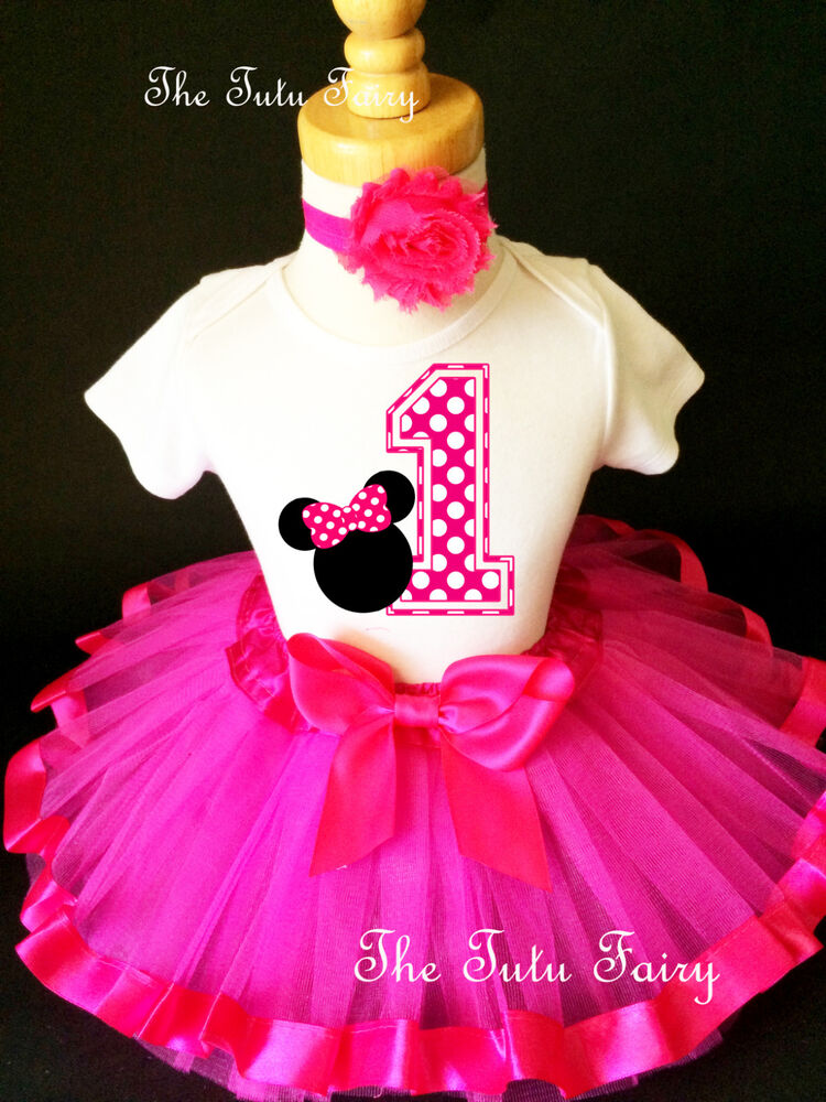 Dots minnie mouse girl 1st first birthday tutu outfit shirt set ebay