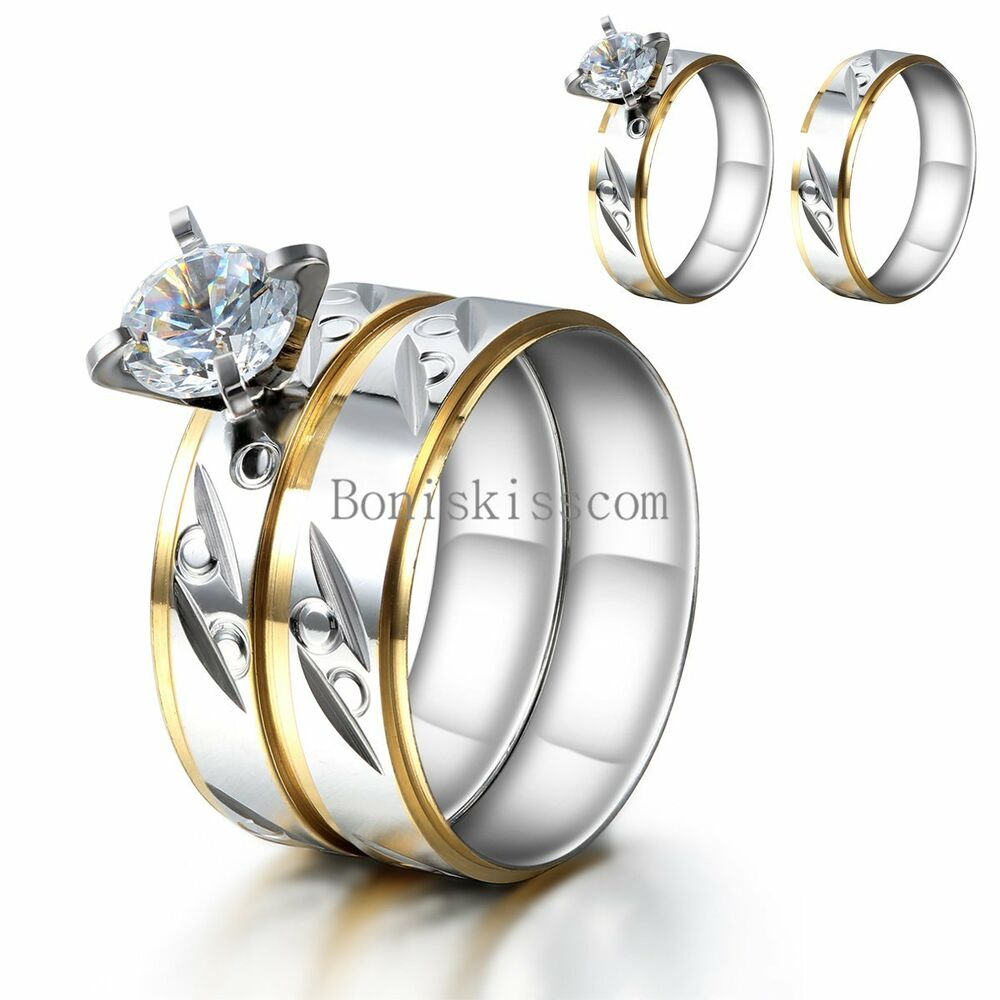wedding rings sets his and hers for cheap his and hers 2pcs stainless steel cz wedding 1071