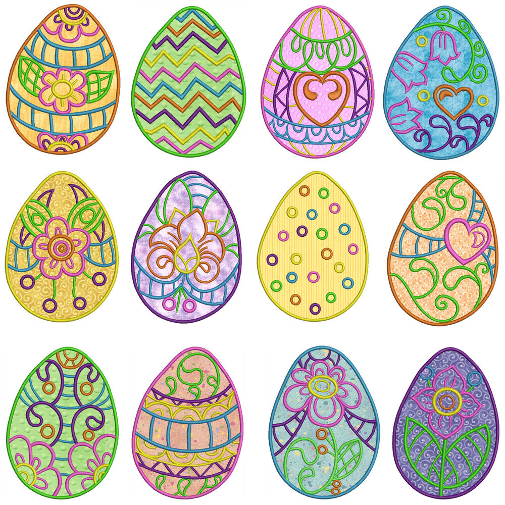 EASTER EGGS Machine Applique Embroidery Patterns 12 Designs