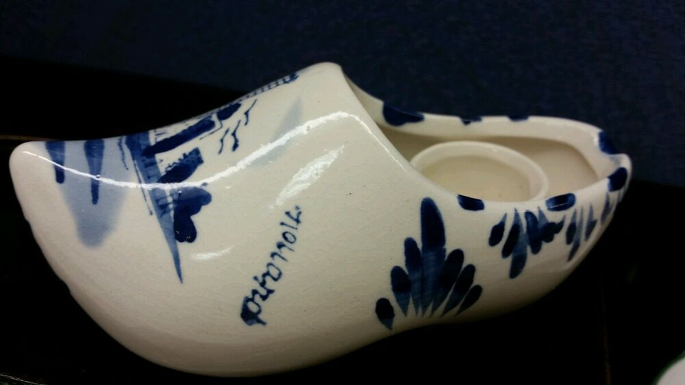 Delft Blue White Porcelain Clog Shoe Windmill Holland Hand