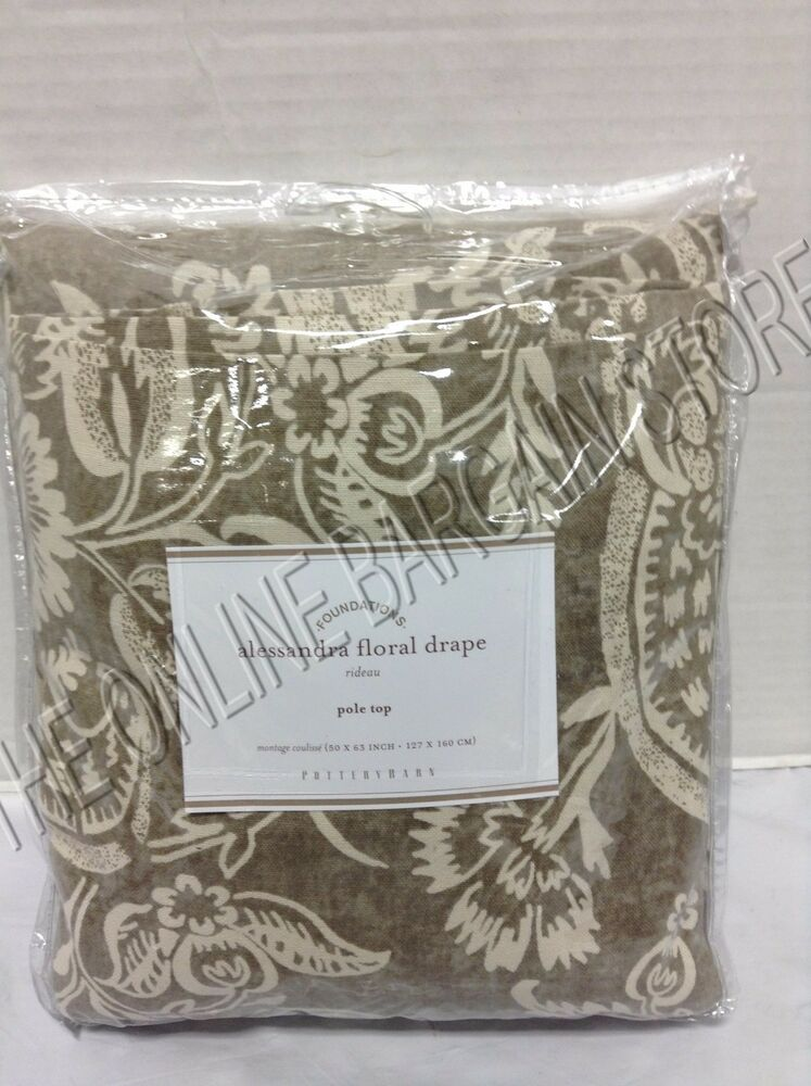 Pottery Barn Alessandra Floral Drapes Curtains Panels 50x63 Gray Blackout Liner Ebay